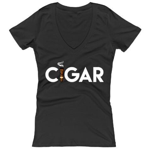 Black Cigar Women's V-Neck T-Shirt