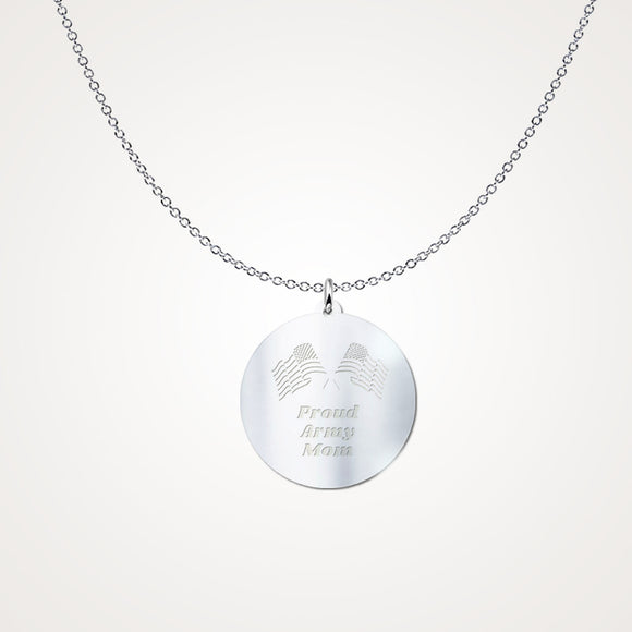 .925 Sterling Silver Proud Army Mom Pendant Necklace