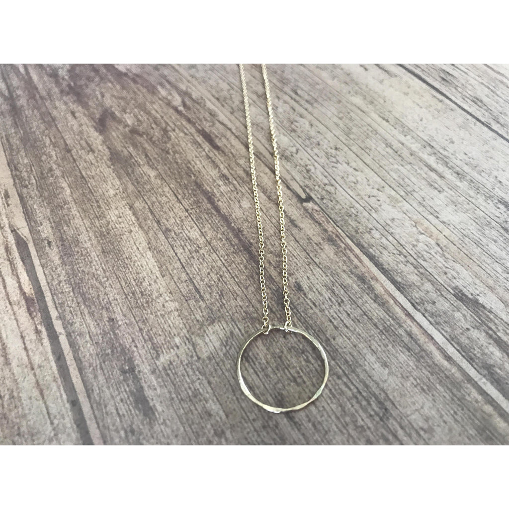 Simple Hammered Circle Necklace in Gold