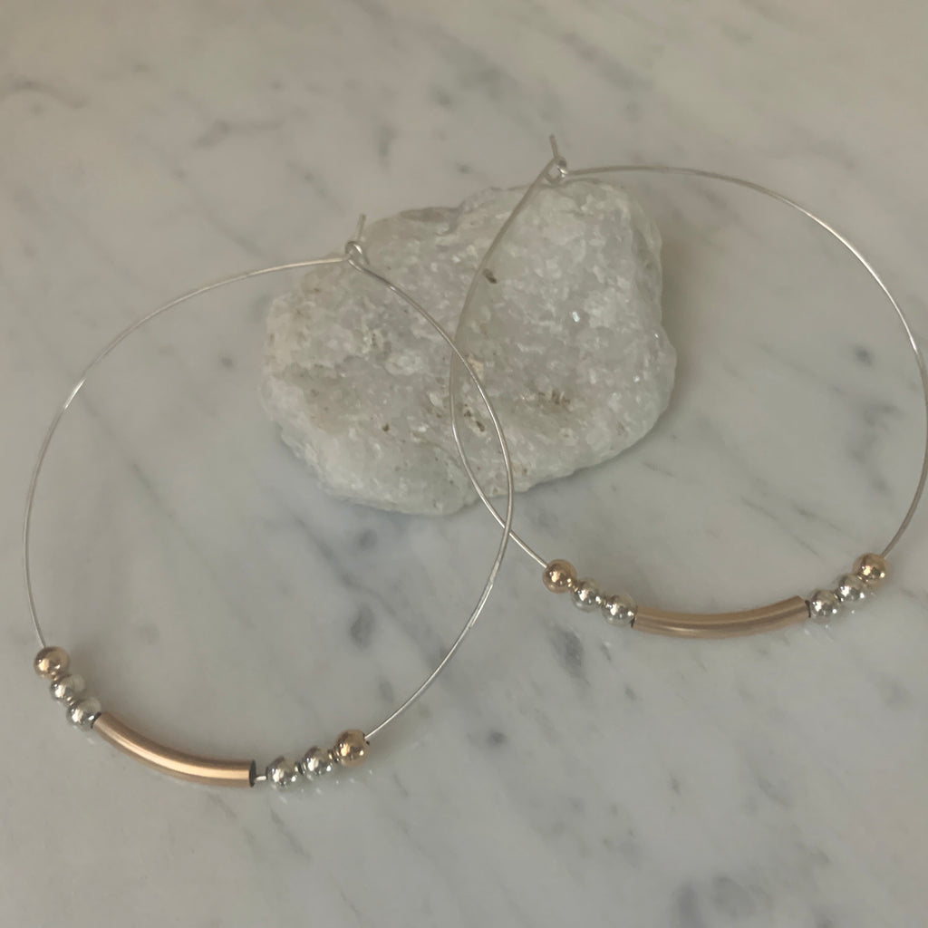 Sterling Silver Accent Hoops