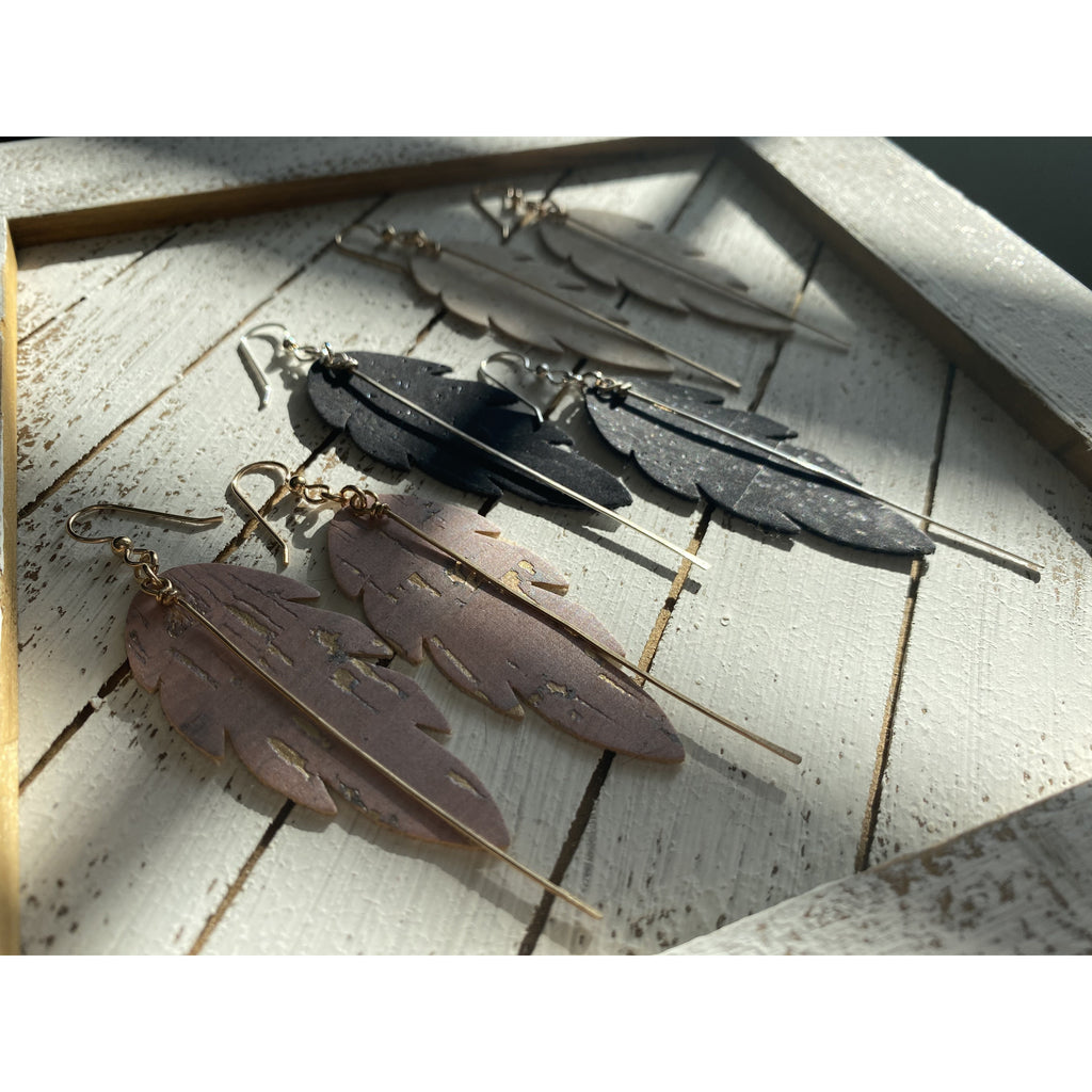 Leaf Shaped Cork Vegan Leather statement earrings