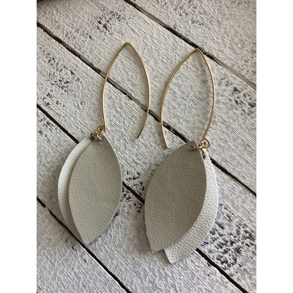 Taupe and White leather drop earrings