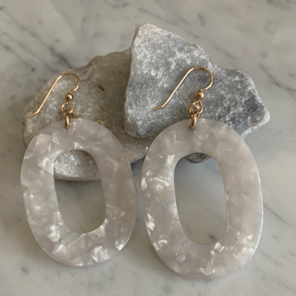 White Shell Resin Earrings