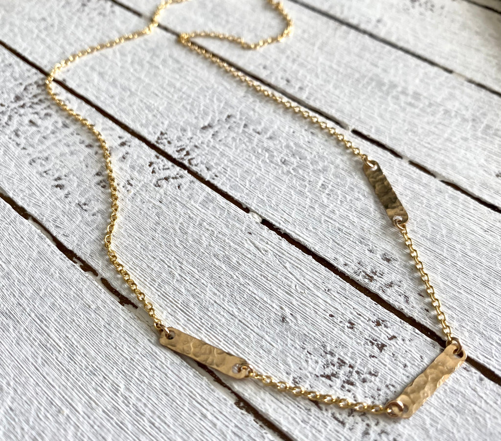 Dainty Three Bar Necklace in Gold