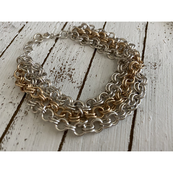 Sterling Silver and Gold Chainmaille Statement bracelet
