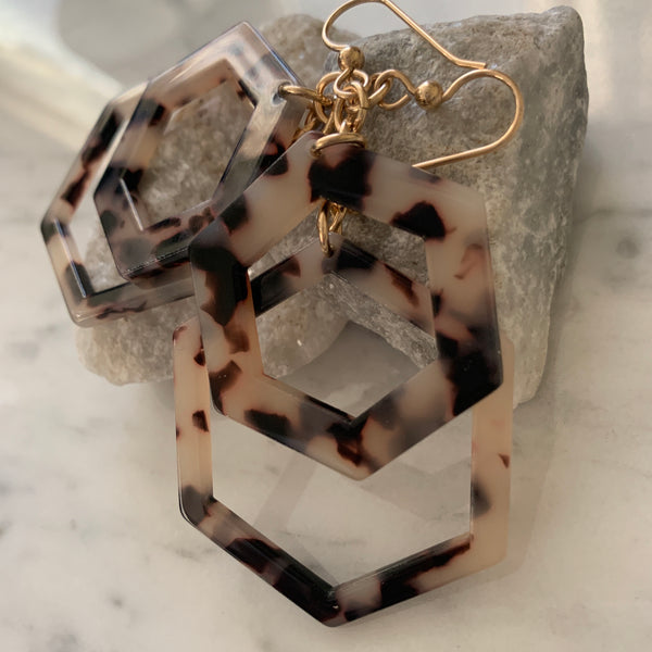 Double Stack Tortoise Shell Resin Earrings