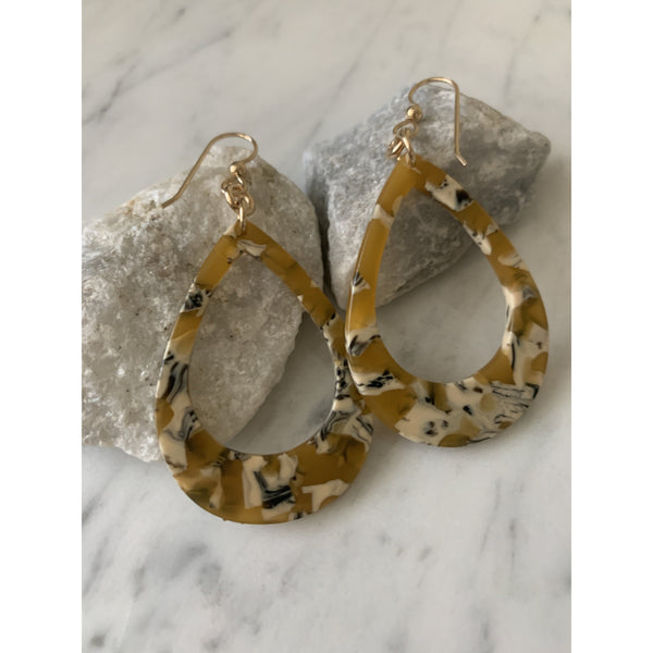 Teardrop Resin Earrings in Shades of Yellow