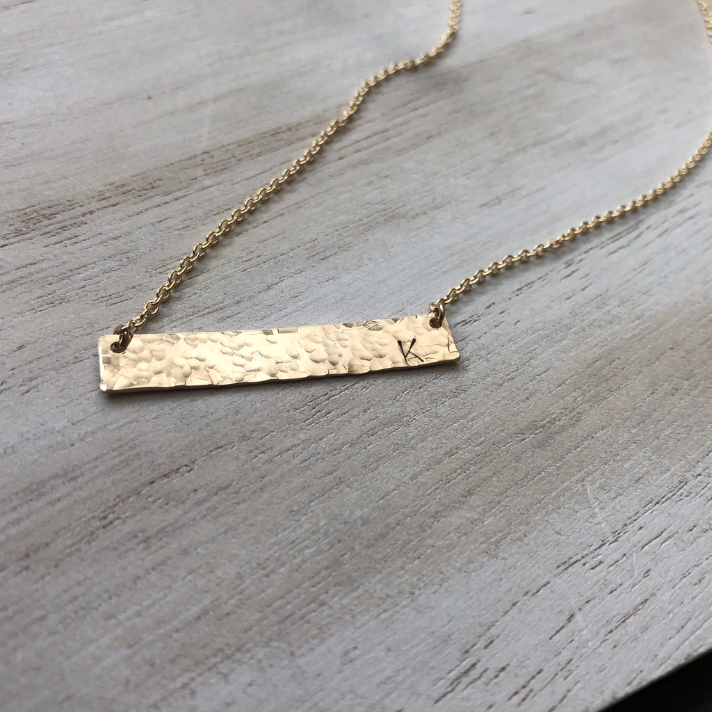 Hammered Gold Bar Initial Necklace