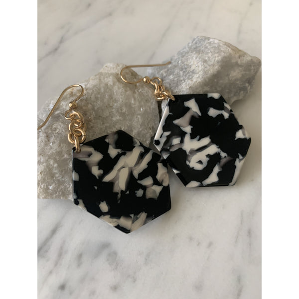 Black and White Resin Earrings