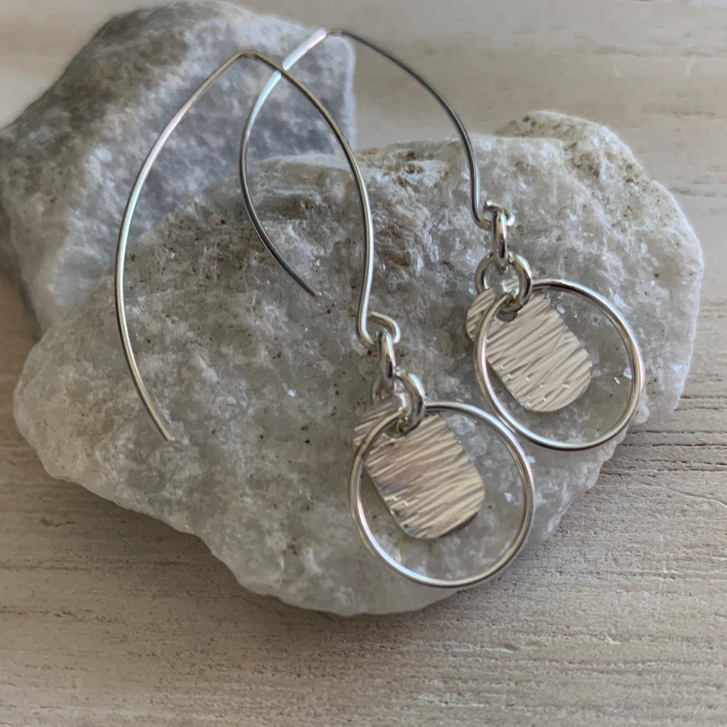 Sterling Silver Tag Drop Earrings with Circle Accents