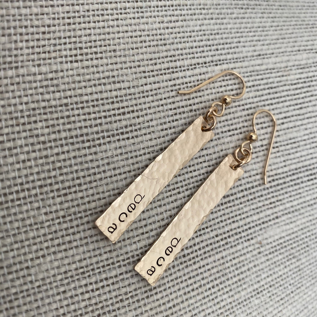 Personalized Hammered Gold Bar Earrings
