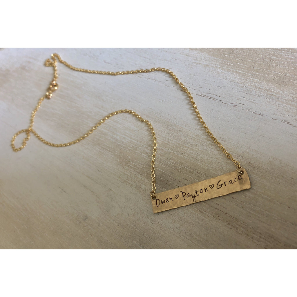 Hammered Gold Bar Mother's Necklace