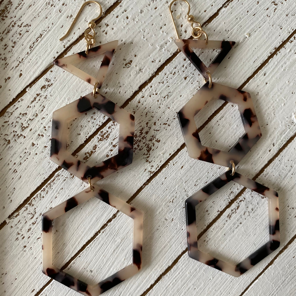 Geometric Stack Resin Earrings