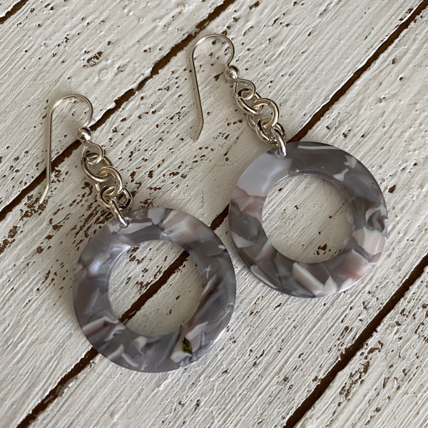 Small Circle Drop Resin Earrings in Grey