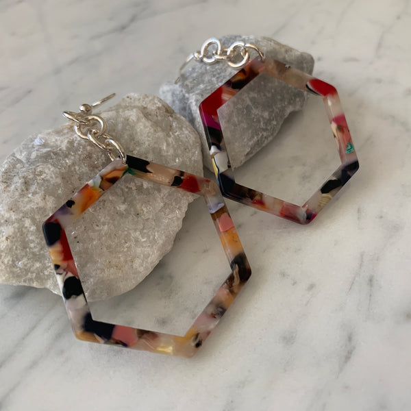 Rainbow Resin Hexagon Earrings