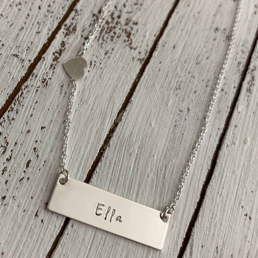Personalized Sterling Silver Bar Necklace with Heart Accent