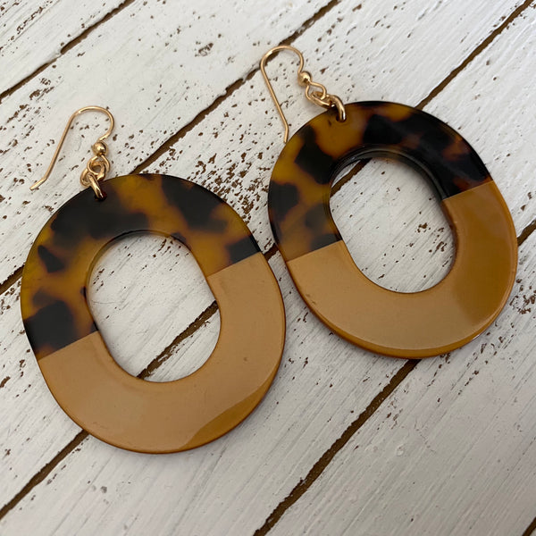 Animal Print Oval Resin Earrings