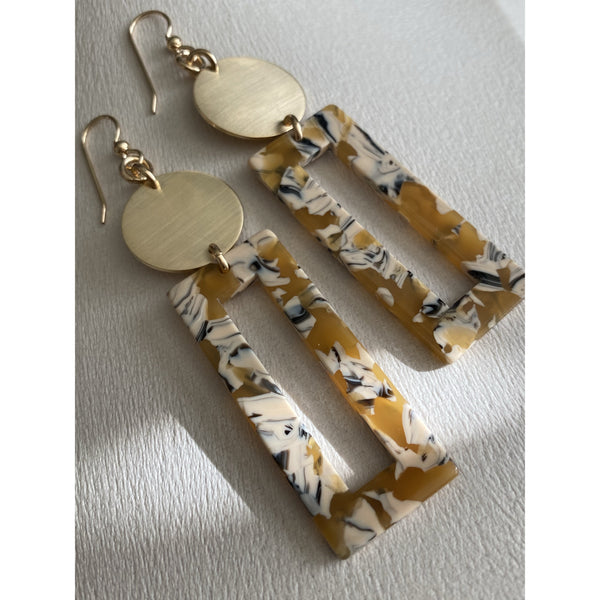 Resin Statement Earrings in Mustard