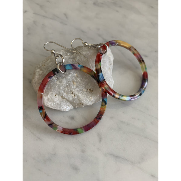 Rainbow Resin Circular Earrings