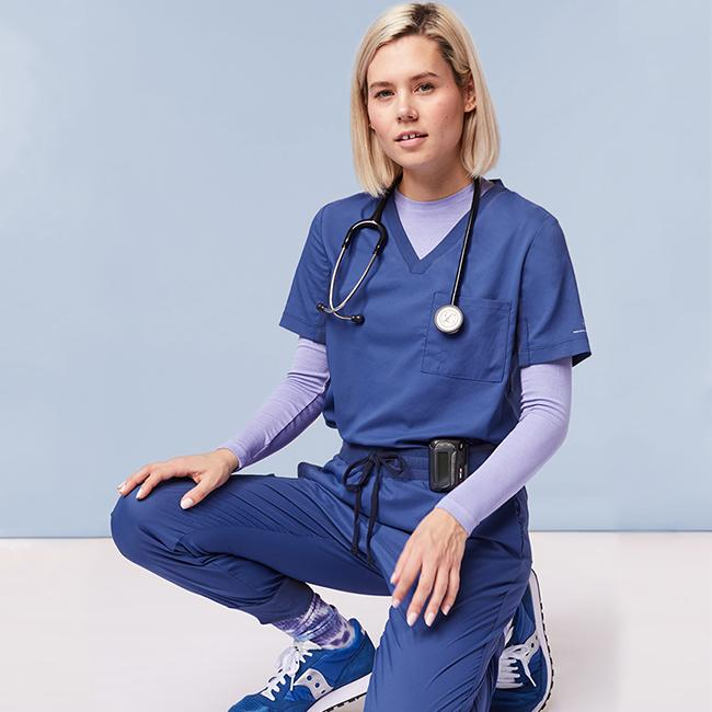 Pairing 15 years of design experience with smart fabrics, DOLAN offers the most comfortable, flattering lightweight scrubs enhanced with temperature regulating yarns and Viroblock's antimicrobial finish to keep you dressed to protect.