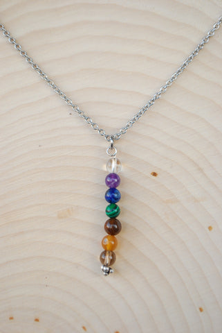 Chakra Dainty Silver Chain Necklace