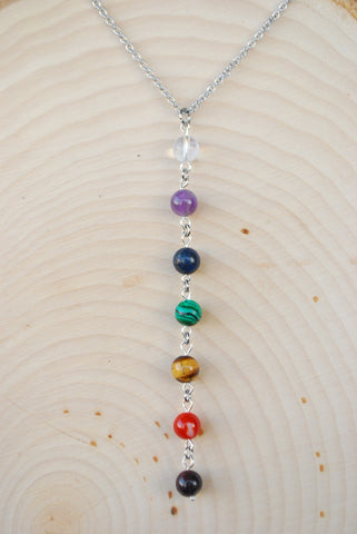 Chakra Silver Chain Necklace 8mm