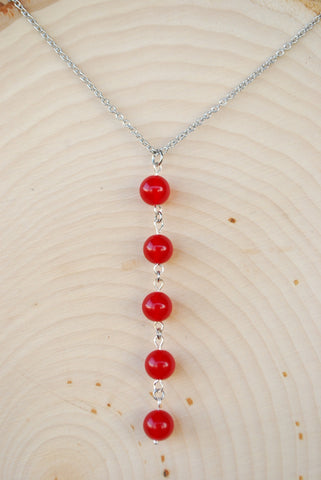 Ruby Silver Chain Necklace