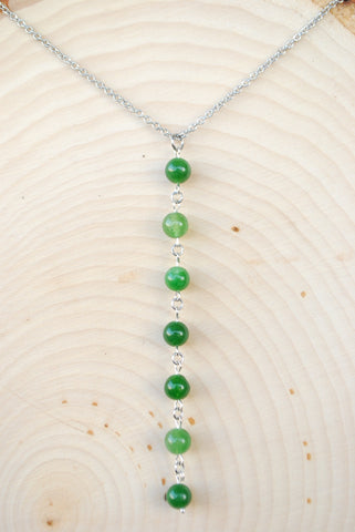 Emerald Silver Chain Necklace