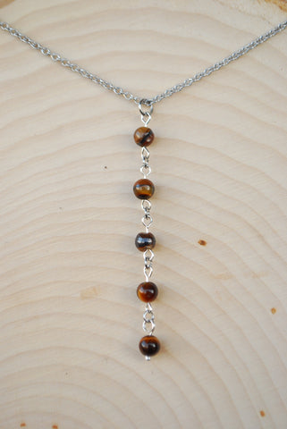Tigers Eye Silver Chain Necklace