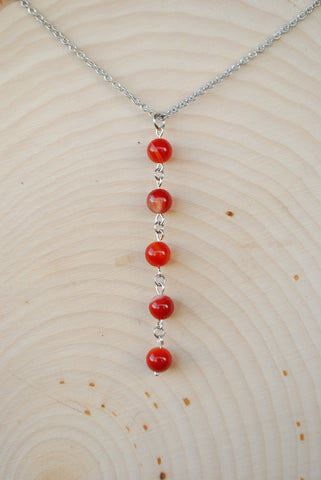 Carnelian Silver Chain Necklace