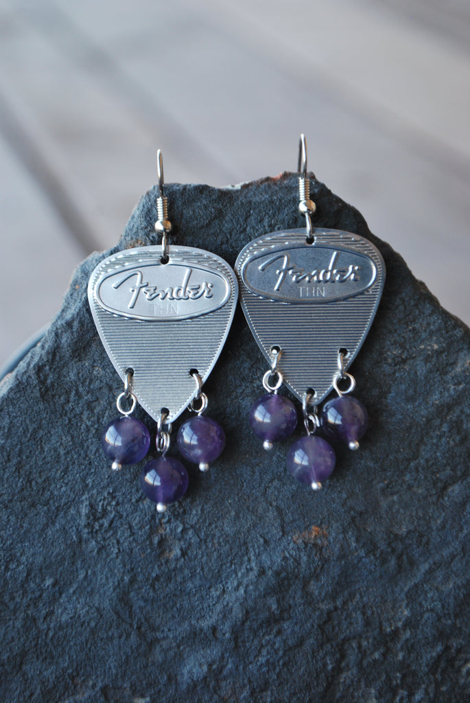 Fender Steel Amethyst Earrings