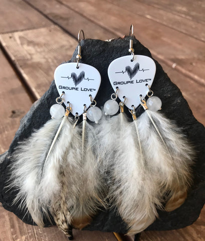 Groupie Love Classic Quartz Crystal Feather Earrings
