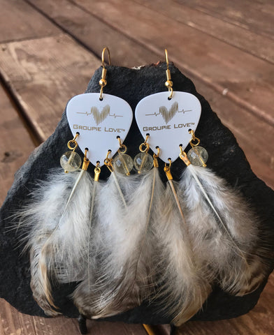 Groupie Love White & Gold Citrine Feather Earrings