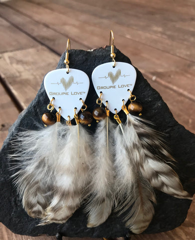 Groupie Love White & Gold Tigers Eye Feather Earrings