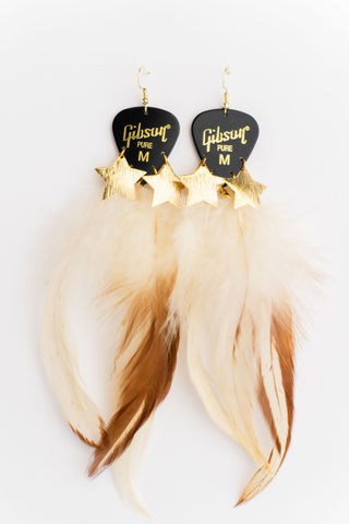 Gibson Black Gold Star Feather Earrings