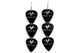 Groupie Love Black Silver Triple Guitar Pick Earrings
