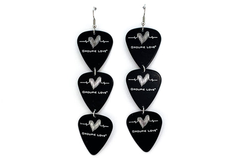 Groupie Love Black Silver Triple Earrings Wholesale