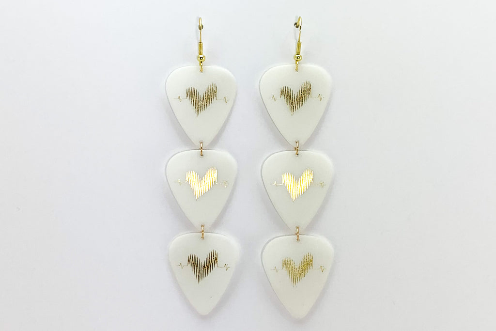 Groupie Love Glow in the Dark Gold Triple Guitar Pick Earrings