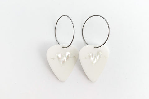 Groupie Love Glow in the Dark Silver Single Earrings
