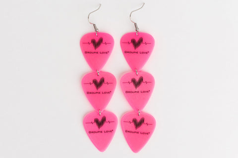 Groupie Love Pink Triple Earrings Wholesale