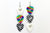 Groupie Love Rainbow Checker Silver Triple Guitar Pick Earrings