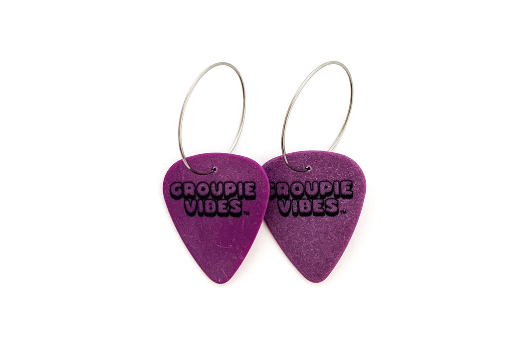 Groupie Vibes Purple Single Guitar Pick Earrings