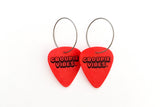 Groupie Vibes Red Single Guitar Pick Earrings