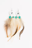 Groupie Love Classic Turquoise Hearts Feather Earrings