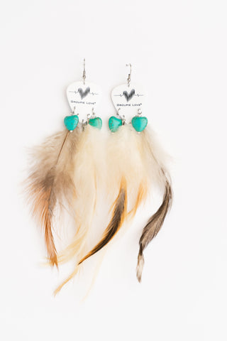 Groupie Love Classic Turquoise Hearts Feather Guitar Pick Earrings