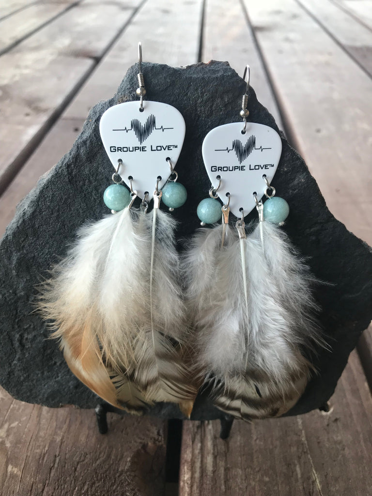 Groupie Love Classic Aquamarine Feather Earrings