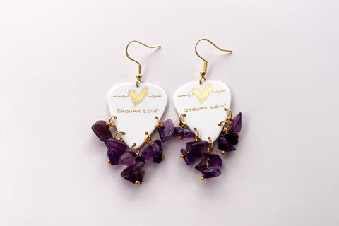 Groupie Love White Gold Amethyst Earrings