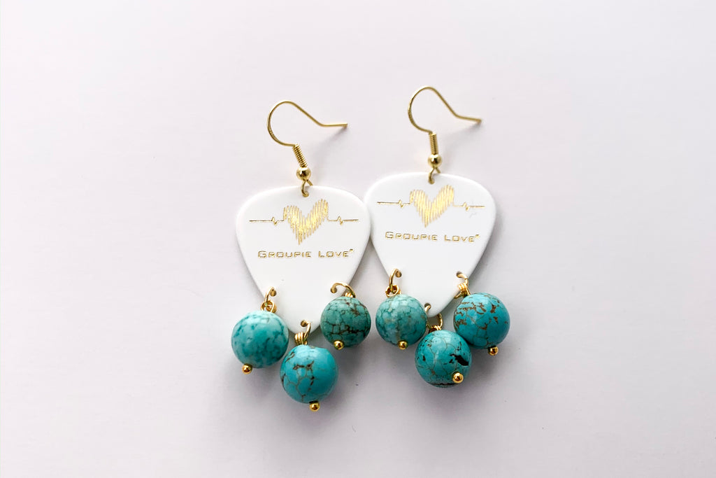 Groupie Love White Gold Blue Turquoise Earrings