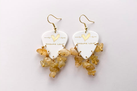 Groupie Love White Gold Citrine Earrings