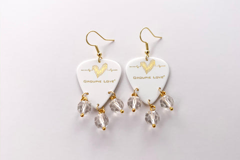 Groupie Love White Gold Quartz Crystal Earrings